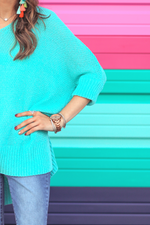 Load image into Gallery viewer, Jenna Hi Lo Tunic - Aqua (Closeup Front Side)