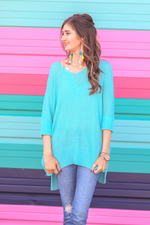 Load image into Gallery viewer, Jenna Hi Lo Tunic - Aqua (Front)