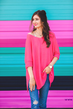 Load image into Gallery viewer, Jenna Hi Lo Tunic - Hot Pink (Closeup)