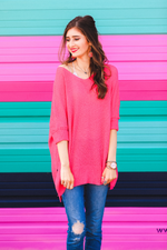 Load image into Gallery viewer, Jenna Hi Lo Tunic - Hot Pink (Front)