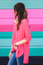 Load image into Gallery viewer, Jenna Hi Lo Tunic - Hot Pink (Side)