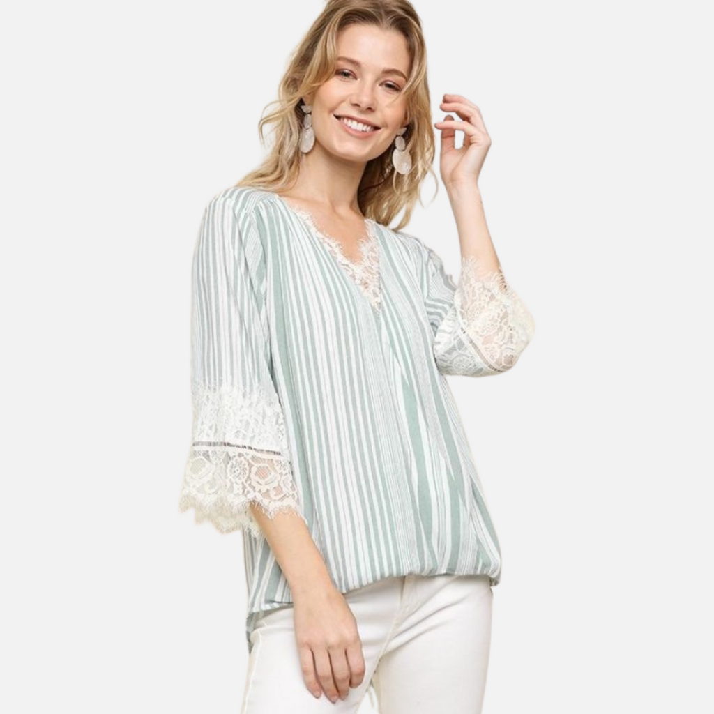 Lace Striped Crossbody V-Neck Top (Main)