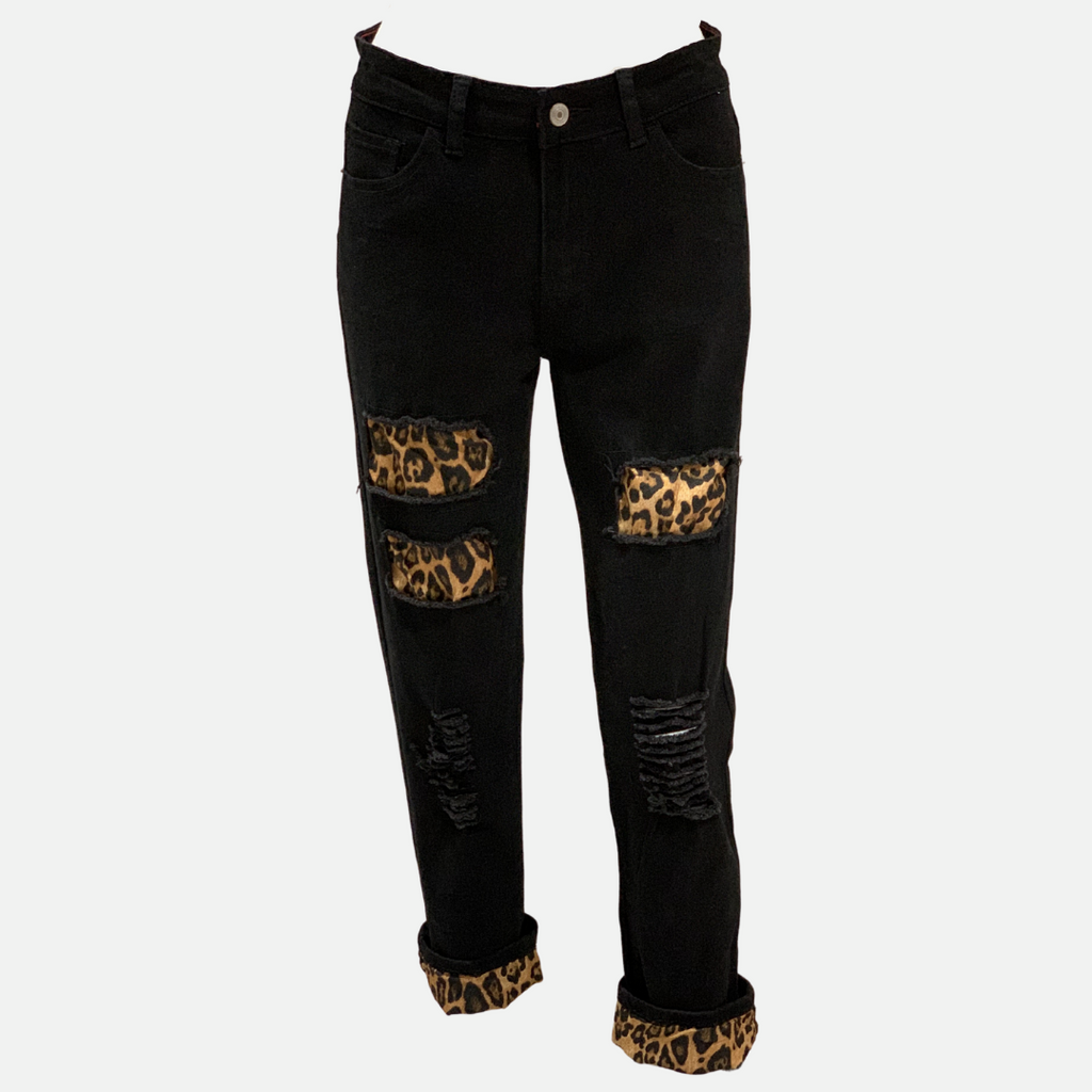 Leopard Cuff Patch Jeans (Main)
