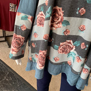 MA LS Floral Hoodie Body Tunic (Closeup)