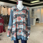 Load image into Gallery viewer, Floral Hoodie Body Tunic (Front)
