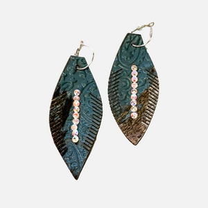 Mix Leather Oversized Feather Earrings (Main)