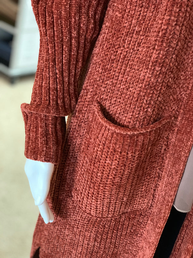 OD LS OF Chunky Knit Cardigan - Brick (Closeup)