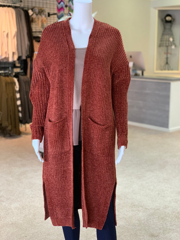 OD LS OF Chunky Knit Cardigan - Brick (Front)