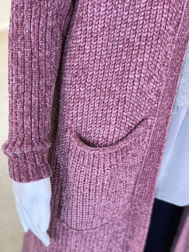 OD LS OF Chunky Knit Cardigan - Orchid (Closeup)