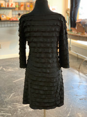 RA LS Ruffle Dress - Black (Back)