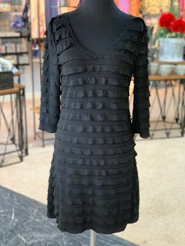 RA LS Ruffle Dress - Black (Front)