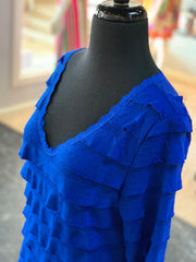 RA LS Ruffle Dress - Royal (Closeup Top)