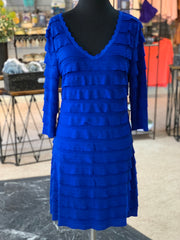 RA LS Ruffle Dress - Royal (Front)