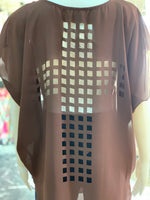 Load image into Gallery viewer, Cross Back Cutout Tunic - Chocolate (Closeup)