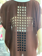 Cross Back Cutout Tunic - Chocolate (Closeup)