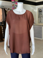 Load image into Gallery viewer, Cross Back Cutout Tunic - Chocolate (Front)