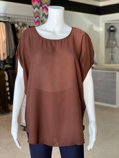 RR Cross Back Cutout Tunic - Chocolate (Front)