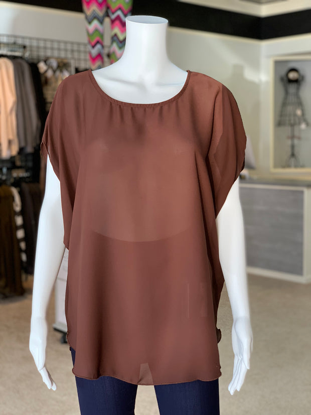 Cross Back Cutout Tunic - Chocolate (Front)