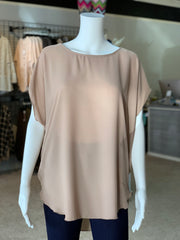 Cross Back Cutout Tunic - Mocha (Front)