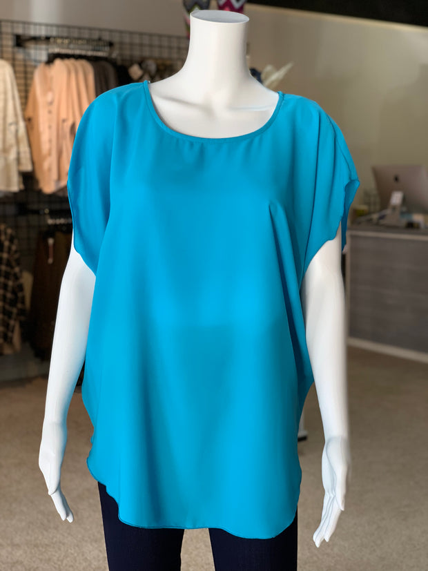 Cross Back Cutout Tunic - Turquoise (Front)