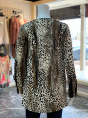 RR Fringe Animal Print Cardigan (Back)