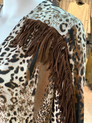 RR Fringe Animal Print Cardigan (Closeup)