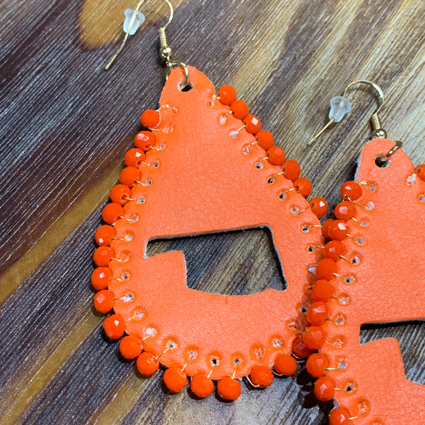 SGA OK Cutout Leather Teardrop Earrings - Orange (Closeup)