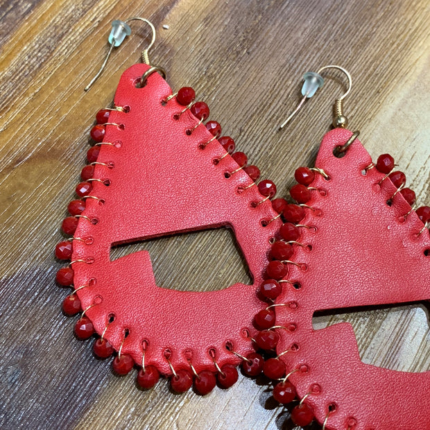 SGA OK Cutout Leather Teardrop Earrings - Red (Closeup)