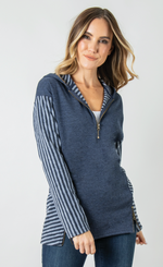 Load image into Gallery viewer, Lakeside Hooded Top - Women (Navy FRONT)