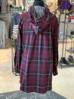 Load image into Gallery viewer, Bonfire Plaid Jacket - Women (Sangria BACK)