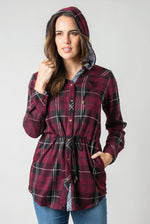 Load image into Gallery viewer, Bonfire Plaid Jacket - Women (Sangria FRONT)