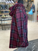 Load image into Gallery viewer, Bonfire Plaid Jacket - Women (Sangria SIDE)