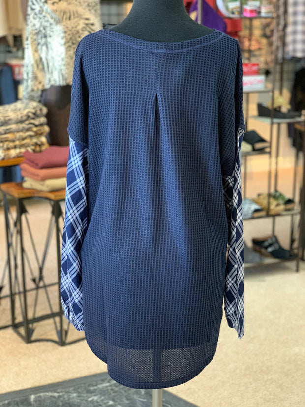 SN PL Armed with Plaid Top - Navy (Back)
