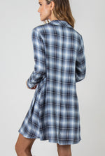 Load image into Gallery viewer, PL Plaid Trapeze Dress - Model (Navy BACK)