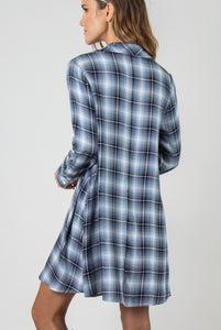 PL Plaid Trapeze Dress - Model (Navy BACK)