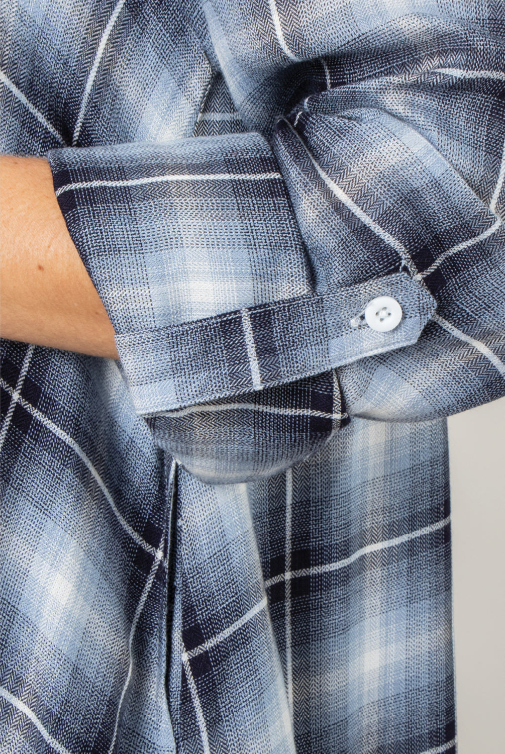 PL Plaid Trapeze Dress - Model (Closeup)