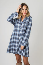 Load image into Gallery viewer, PL Plaid Trapeze Dress - Model (Navy FRONT)