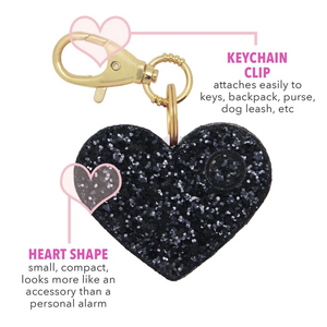 Personal Security Alarm - Glitter Heart (Black Details FRONT)