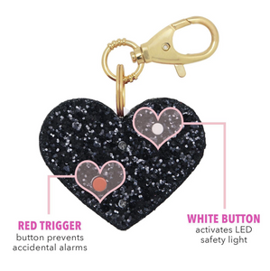 Personal Security Alarm - Glitter Heart (Black Details BACK)