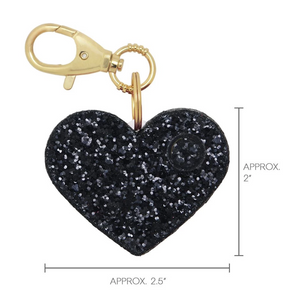Personal Security Alarm - Glitter Heart (Black MEASUREMENTS)