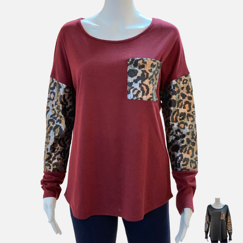 Solid Boat Neck Leopard Top (Main)