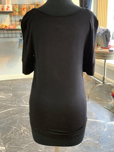 Solid Round Neck Top - Black (Back)