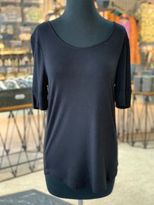 Solid Round Neck Top - Black (Front)