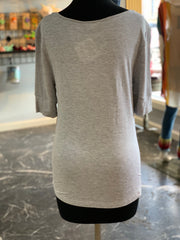 Solid HS Round Neck Top - Heather Grey (Back)