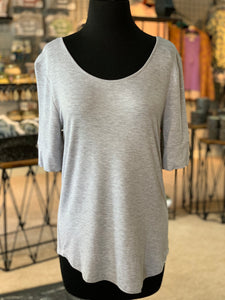 Solid Round Neck Top - Heather Grey (Front)