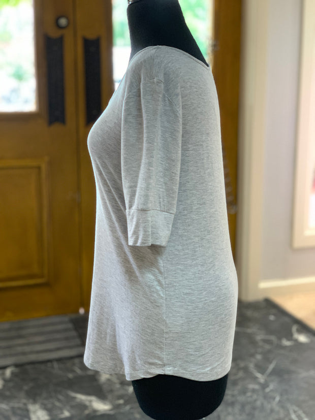 Solid HS Round Neck Top - Heather Grey (Side)