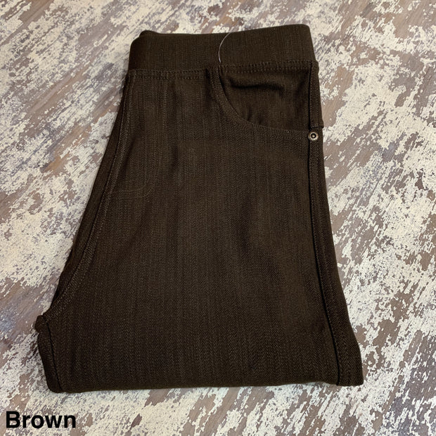 Solid Stretch Jeggings (Brown)