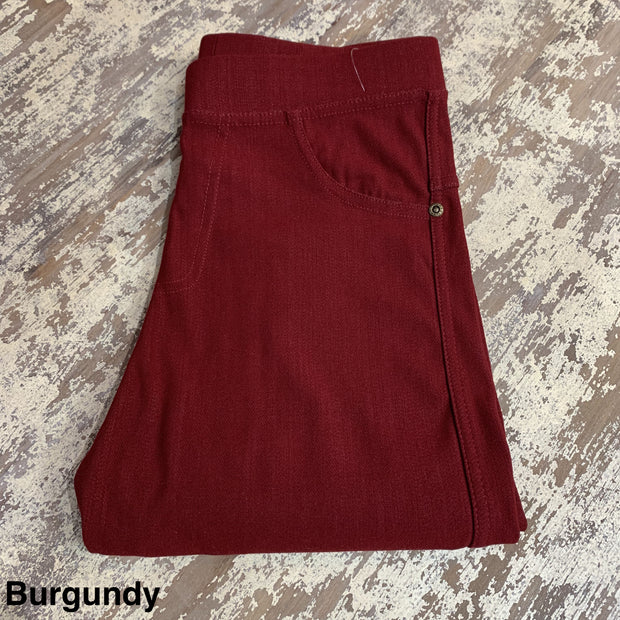 Solid Stretch Jeggings (Burgundy)