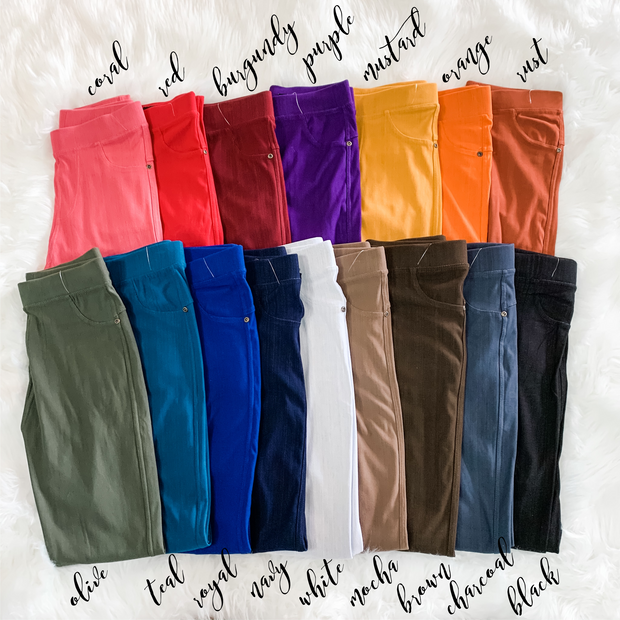 Solid Stretch Jeggings (Colors)