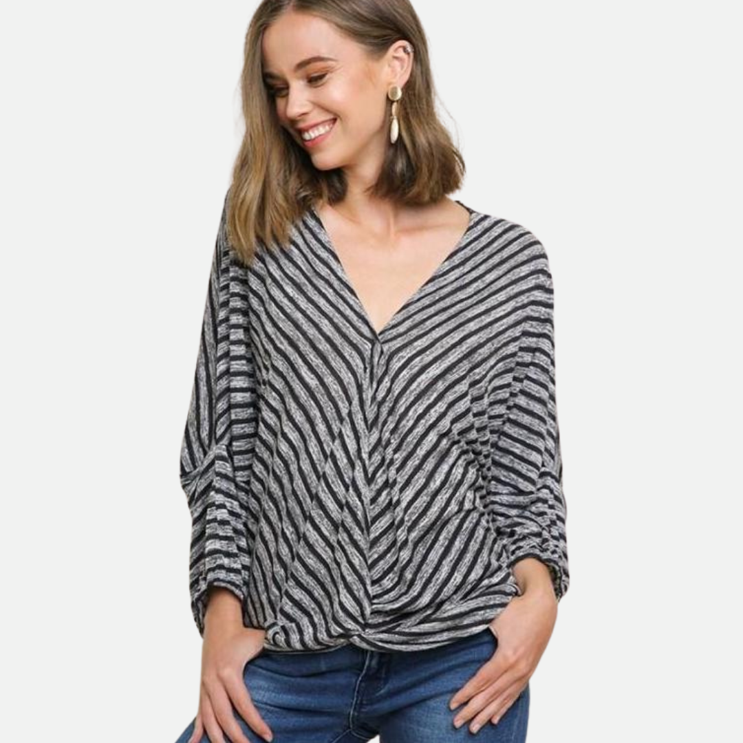 Striped V-Neck Surplice Top (Main)
